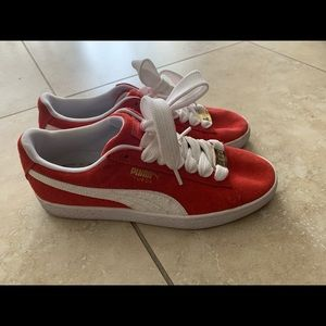 Red & white puma sneakers